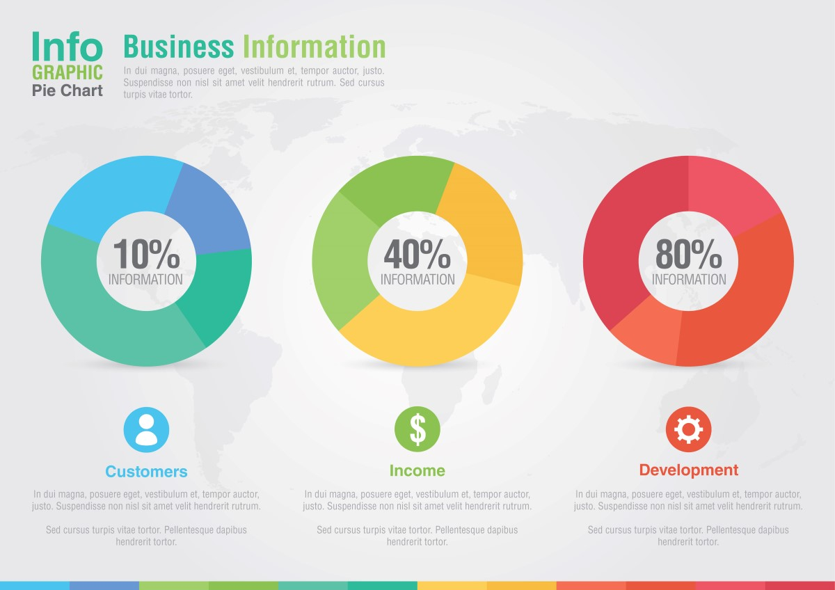 Business pie chart infographic. Business report creative marketi